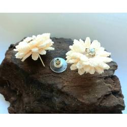 Cream Fabric Daisy Button Earrings with Diamante Centre
