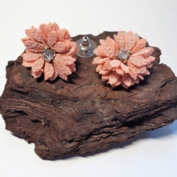 Peach Fabric Daisy Button Earrings with Diamante Centre