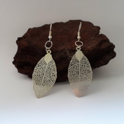 Delicate Laser-Cut Etched Leaf Dangle Earrings