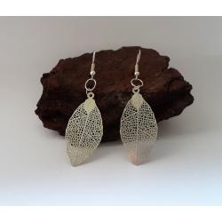 Delicate Laser-Cut Etched Leaf Dangle Earrings