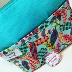 Handmade Bag Organiser – Feathers Teal
