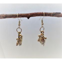 Finely-Detailed Turtle Dangle Earrings