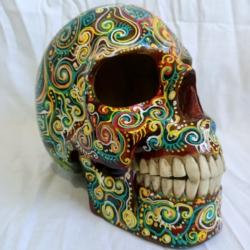 Carved Wood Human Skull Large (HSL001)