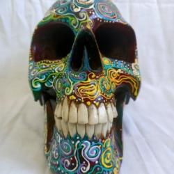 Carved Wood Human Skull Large (HSL002)