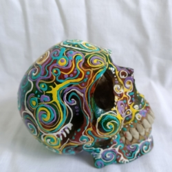 Carved Wood Human Skull Small (HSS001)