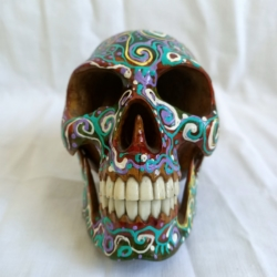 Carved Wood Human Skull Small (HSS002)