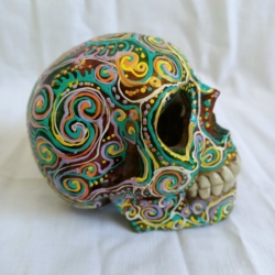 Carved Wood Human Skull Small (HSS003)