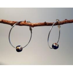 HandPainted Metal Blue Beads with Floral Details on Hoop Earrings
