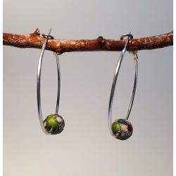 HandPainted Metal Red Beads with Floral Details on Hoop Earrings
