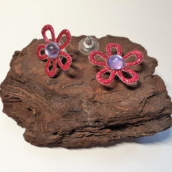 Hot Pink Glitter Fabric Flower with Cut-Out Petals & Mauve Rhinestone Button Earrings