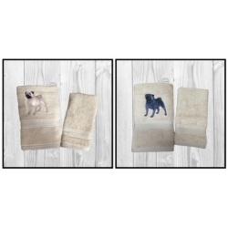 EMBROIDERED HAND-TOWEL SET – ' PUG '