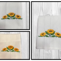 EMBROIDERED TEA TOWEL – SUNFLOWERS