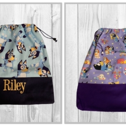 LIBRARY/ TOY/ KINDY / ALL PURPOSE DRAWSTRING BAG – ' BLUEY '