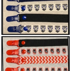 HANDMADE DUMMY CLIPS-PACIFIER CLIPS – SOOTHER CLIPS- FOOTBALL