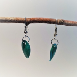 Round Mother of Pearl – Turquoise (small) Dangle Earrings