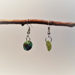Round Mother of Pearl – Turquoise (medium) Dangle Earrings