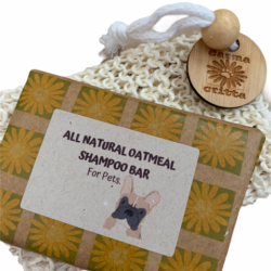 All Natural Oatmeal Shampoo Bar for Dogs with Jute Soap Saver Bag