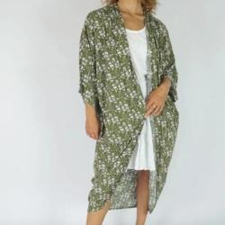 Olive Blossom Long Kimono Cape