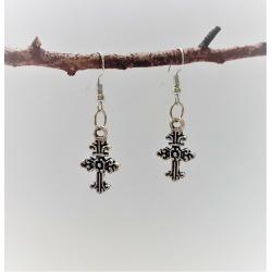 Ornate Crosses Dangle Earrings