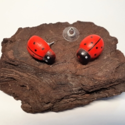 Red & Black Timber HandPainted Ladybird Button Earrings (small)