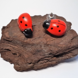 Red & Black Timber HandPainted Ladybird Button Earrings (medium)