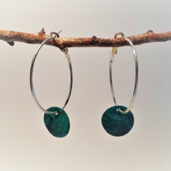 Mother of Pearl – Turquoise – on Hoop Earrings