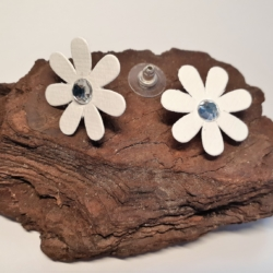 White Fabric & Diamante Flower Button Earrings (medium)