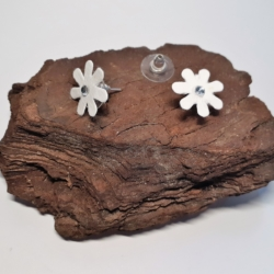 White Fabric & Diamante Flower Button Earrings (small)