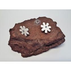 White Glitter Fabric & Diamante Flower Button Earrings (small)