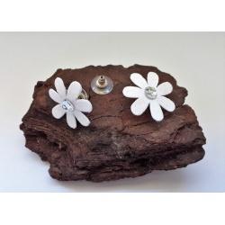 White Glitter Fabric & Diamante Flower Button Earrings (medium)
