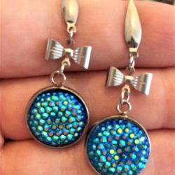 Pretty Iridescent Blue and Bow Earrings – Stainless Steel