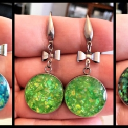 Pretty Faux Opal with Bows Dangle Earrings – stainless steel – 5 colours