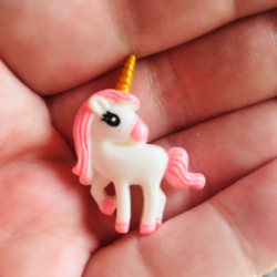 Cute Unicorn with Pink Mane and Golden Horn Brooch / Pin / Embellishment