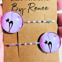 Cute Cat Silhouette Hairpins / Clips (sold in pairs) – 2 Colours