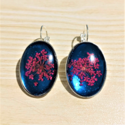 Pretty Blue with Pink Dried Flower Lever-back Earrings