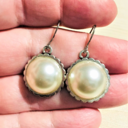 Classic Faux Pearl Dangle Earrings – Stainless Steel
