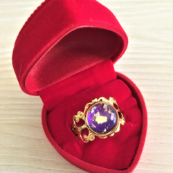 Pretty Golden Filigree with Purple Gem Adjustable Ring – one size fits most