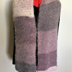 Hand Knitted Super Soft Pinks and Mauves Scarf