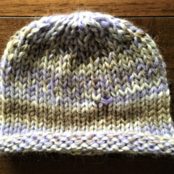 Hand Knitted Purple and Light Grey Roll Brim Hat – !00% wool