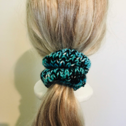 Striking Green, Black & White Hand Knitted Scrunchy – suits most hair types