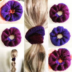 Pretty Grape Purple Hand Knitted Scrunchy – suits most hair types