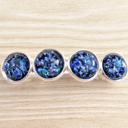 Jazzy Blue with Silver Glitter Hair Barrette / Clip