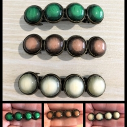 Classic Bronze with Earthy Stone Style Hair Barrettes / Clips – 3 colours – suit most hair types
