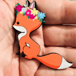 Cute Fox with Floral Crown Brooch / Pin / Embellishment