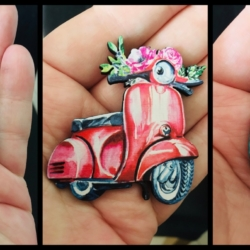 Cute Scooter Brooches / Pins / Embellishments – 3 designs