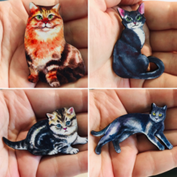 Cute Kitten and Cat Brooches / Pins / Embellishments – 4 Designs