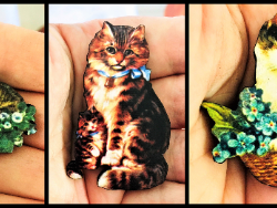 Pretty Cat and Kitten Brooches / Pins / Embellishments – 3 Designs