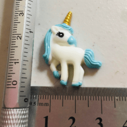 Cute Unicorn with Light Blue Mane and Golden Horn Brooch / Pin / Embellishment