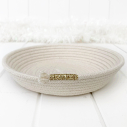 Glittery gold trimmed coiled rope trinket dish – made with Australian rope