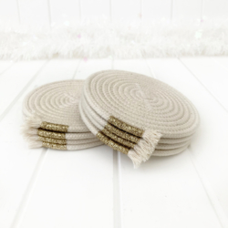 Glittery gold trimmed coiled rope drink coasters, set of 4, Australian made rope, ready to send